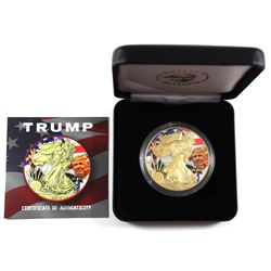2018 USA 1oz Coloured & Gilded Trump .999 Fine Silver Eagle Encapsulated in Smitty's Treasures Black