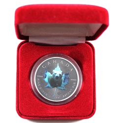 2015 Canada 1oz Coloured & Antiqued Polar Bear Special Issue .9999 Fine Silver Maple Leaf Encapsulat