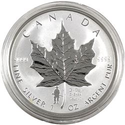 2004 Canada 1oz D-Day Privy .9999 Fine Silver Maple Leaf in Capsule (light toning). TAX Exempt. Issu
