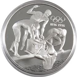 1896-1996 Olympic Centennial 1993 Australia $20 Swimming Sterling Silver Coin (capsule lightly scrat
