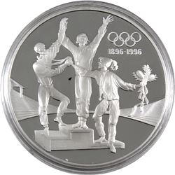 1896-1996 Olympic Centennial 1993 Australia $20 Podium Celebration Sterling Silver Coin (capsule lig