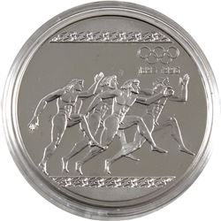 1896-1996 Olympic Centennial 1996 Greece 1000 Drachma Running Sterling Silver Coin (capsule lightly