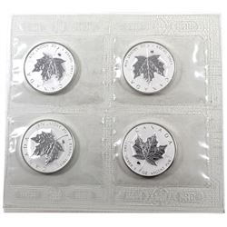 4 x 2009 Canada 1oz Ox Privy .9999 Fine Silver Maple Leafs in Sealed Plastic Sheet from the Mint. 4p