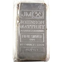 10oz Johnson Matthey .999 Fine Silver Bar (TAX Exempt)