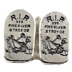 Pair of 2oz Monarch Precious Metals R.I.P. Skeleton Tombstone .999 Fine Silver. 2pcs (TAX Exempt)