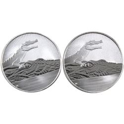 Pair of 2019 Australia 2oz Crocodile & Baby .9999 Fine Silver Coins. 2pcs (TAX Exempt)