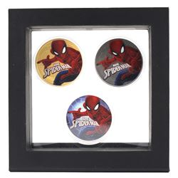 Set of Marvel Spiderman 2017 Tuvalu $1 Coloured .9999 1oz. Fine Silver Coins of Different versions E