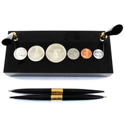 1967 Canada 6-coin Year Set in Acrylic Slab with 2 Pen Holders Including 2 Vintage Pens with Outer B