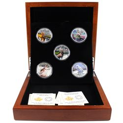 2015-2016 Canada $20 Majestic Animals 5-coin Fine Silver Set (missing original sleeve). TAX Exempt
