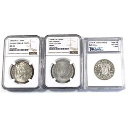 Lot of 3x Certified Italy Silver Coins. You will receive 1992R S500L Italian Flora & Fauna NGC MS-65