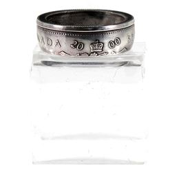 COIN RING: 2000 Canada 50-cent Coin Custom Jewellery Ring Size 8 1/2 - Made from a real 50-cent coin