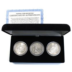 Federal Coin Repository 1880S, 1881S & 1882S USA Morgan Silver Dollar 3-coin Set in Black Display Ca