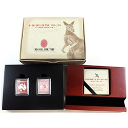 1913-2013 Australia Kangaroo and Map Stamp Shaped Coin and Stamp Set (TAX Exempt)