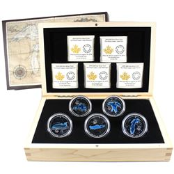 2014-2015 Canada $20 Great Lakes 5-coin Fine Silver Set in Deluxe Case (Lake Superior coin is lightl