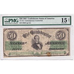 1861 Confederate State of America $50 CT-16, Contemporary Counterfeit PMG Certified F-15 (Reattached