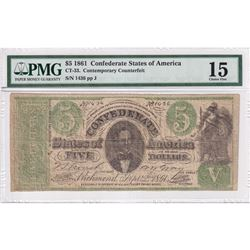 1861 Confederate State of America $5 CT-33 PMG Certified F-15. Contemporary Counterfeit