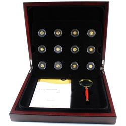 *2013 Canada The Most Affordable Gold Coin Collection 12-coin 0.5g Fine Gold Set in Deluxe Wooden Ca