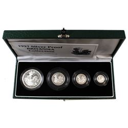 Scarce 1997 Great Britain 4-coin Britannia Fine Silver Proof Collection. You will receive 1oz, 1/2oz