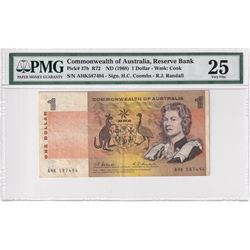 1968 Australia $1 Pick #37b R72, Reserve Bank, Coombs-Randall, S/N: AGK587494, PMG Certified VF-25.