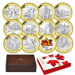 Scarce Version; 2013 $10 O Canada 12-coin Fine Silver Set with Selective Gold Plating in Deluxe Disp