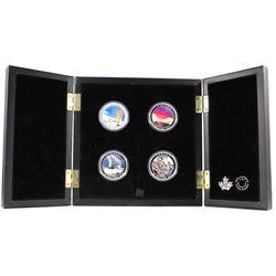 2015-2017 Canada $20 Weather Phenomenon 4-coin Fine Silver Set in Deluxe Display Case. You will rece