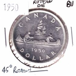Error! 1950 Canada Silver $1 with a 45 Degree Rotated Die Brilliant Uncirculated.