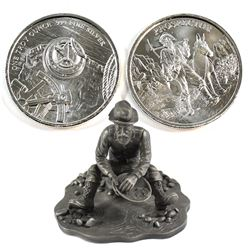 Vintage 1976 The Prospector Franklin Mint Pewter Figurine with 2x 1oz .999 Fine Silver Prospector Ro