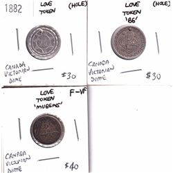 Lot of 3x Canada Victorian 10-cent Love Tokens. Inscribed on the Tokens are 'F.P.', 'B.G.' & 'Muggin