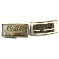 VINTAGE! ONT-1927 & ONT-1928 Licensed Chauffeur Pins, One with Enameling! 2pcs