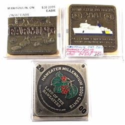 Lot of 3x 2000, 2001 & 2005 Rare Low Mintage Manitoulin Island Haweater $20 Square Medallions! You w