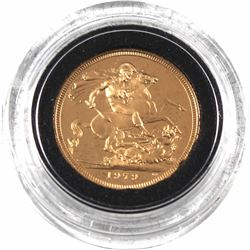 1979 Great Britain Proof Gold Sovereign Encapsulated in Original Blue Royal Mint Holder. Contains 0.