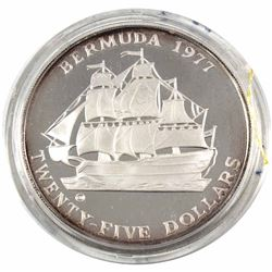 1977 Bermuda Monetary Authority $25 Ship - Penny Sterling Silver Coin Weighing 55g Encapsulated in O