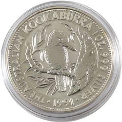 1991 Australia $5 1oz Kookaburra Fine Silver Coin in Capsule (TAX Exempt)