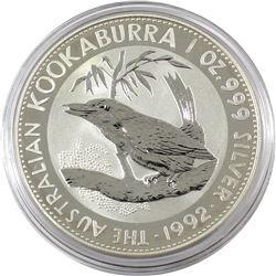 1992 Australia $5 1oz Kookaburra Fine Silver Coin in Capsule (TAX Exempt)