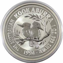 1994 Australia $5 1oz Kookaburra Fine Silver Coin in Capsule (TAX Exempt)