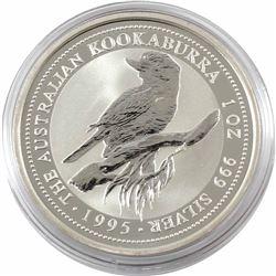 1995 Australia $5 1oz Kookaburra Fine Silver Coin in Capsule (TAX Exempt)