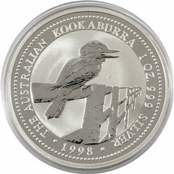 1998 Australia $5 1oz Kookaburra Fine Silver Coin in Capsule. Low mintage of only 103,119!!! (TAX Ex