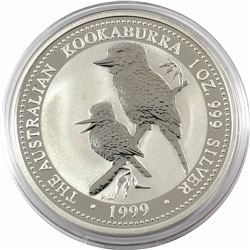 1999 Australia $5 1oz Kookaburra Fine Silver Coin in Capsule. Low mintage of only 109,364!!! (TAX Ex