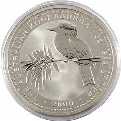 2000 Australia $5 1oz Kookaburra Fine Silver Coin in Capsule (light toning spot & light scratch). Lo