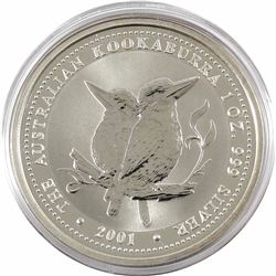2001 Australia $5 1oz Kookaburra Fine Silver Coin in Capsule (lightly toned). TAX Exempt