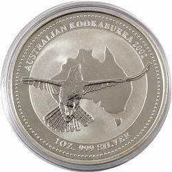 2002 Australia $5 1oz Kookaburra Fine Silver Coin in Capsule (lightly toned). 3rd lowest mintage yea
