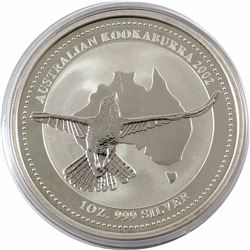 2002 Australia $5 1oz Kookaburra Fine Silver Coin in Capsule (lightly toned). 3rd lowest mintage yea
