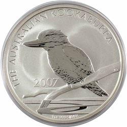 2007 Australia $5 1oz Kookaburra Fine Silver Coin in Capsule (lightly toned). TAX Exempt