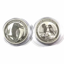 2012 & 2013 Australia $5 1oz Kookaburra Fine Silver Coins in Capsules. 2pcs (TAX Exempt)
