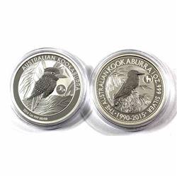 2014 Horse Privy & 2015 Goat Privy Australia $5 1oz Kookaburra Fine Silver Coins in Capsules. 2pcs (