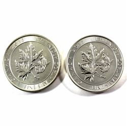 2015 Canada $8 Super Leaf 1.5oz .9999 Fine Silver Coins (toned on back of coins). 2pcs (TAX Exempt)
