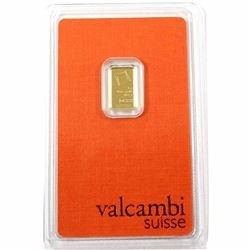 Valcambi Suisse 1g .9999 Gold Bar in Original Hard Plastic (TAX Exempt)
