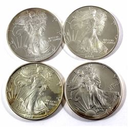 1993, 2x 1994 & 1995 USA 1oz .999 Fine Silver Eagles. 4pcs (TAX Exempt)