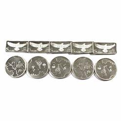 Monarch Precious Metals Fractional .999 Fine Silver Lot - 5x Eagle 5g Bars & 5x 1/4oz Hot Air Balloo