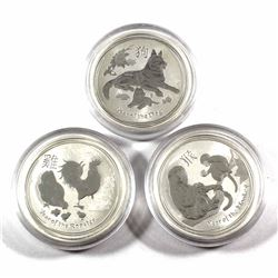 2016-2018 Australia 50-cent 1/2oz Fine Silver Lunar Coins - 2016 Year of the Monkey, 2017 Rooster &